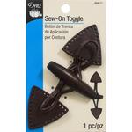 Brown W/Dark Wooden Button - Sew-On Toggle