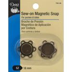 Antique Brass - Flower Sew-On Magnetic Snap 1/Pkg