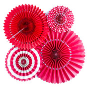 Red Assorted Party Fans - My Minds Eye