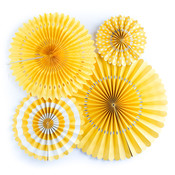 Yellow Assorted Party Fans - My Minds Eye
