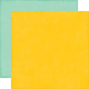 Yellow/Teal Solid Distressed Cardstock - Happy Summer - Echo Park