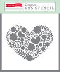 Floral Heart Stencil - Hello Summer - Echo Park