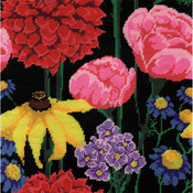 """12""""X12"""" Stitched In Acrylic Yarn - Midnight Floral Needlepoint Kit"""