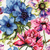 "12""X12"" Stitched In Acrylic Yarn - Watercolor Floral Needlepoint Kit"