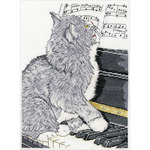 """10""""X14"""" 14 Count - Piano Cat Counted Cross Stitch Kit"""