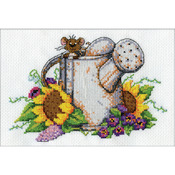 "5""X7"" 14 Count - Watering Can Mouse Mini Counted Cross Stitch Kit"