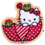 "Hello Kitty In The Umbrella - Vervaco Shaped Rug Latch Hook Kit 21.25""X22"""