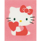 "5""X6.5"" - Hello Kitty With Heart Plastic Canvas Kit"
