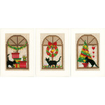 "4.2""X6"" 14 Count Set Of 3 - Christmas Greeting Cards On Aida Counted Cross Stitch Kit"