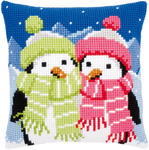 "16""X16"" - Penguins With Scarf Cushion Cross Stitch Kit"