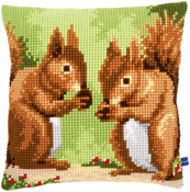 "16""X16"" - Nibbling Squirrels Cushion Cross Stitch Kit"