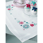 "32""X32"" - Modern Flowers Tablecloth Stamped Embroidery Kit"