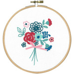 """5.8"""" Round - Modern Flowers W/Bow Stamped Embroidery Kit"""