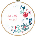 """9.6"""" Round 14 Count - Modern Flowers Be Happy On Aida Counted Cross Stitch Kit"""