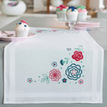 """16""""X40"""" - Modern Flowers Table Runner Stamped Embroidery Kit"""