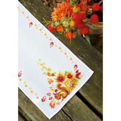 """12.8""""X33.6"""" 11 Count - Squirrel In Autumn Table Runner On Aida Counted Cross Stitch"""