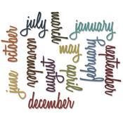 Script Calendar Words - Sizzix Thinlits Dies 12/Pkg By Tim Holtz