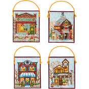 16 Count Set Of 4 - Winter Village Ornaments Counted Cross Stitch Kit