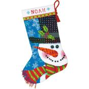"16"" Long Stitched In Wool & Thread - Patterned Snowman Stocking Needlepoint Kit"