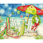 "12""X10"" 14 Count - Christmas Beach Chairs Counted Cross Stitch Kit"