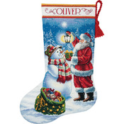 """16"""" Long 18 Count - Gold Collection Holiday Glow Stocking Counted Cross Stitch K"""