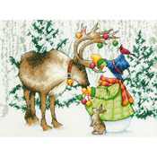 """12""""X9"""" 14 Count - Ornamental Reindeer Counted Cross Stitch Kit"""