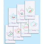 "Teapots Of The Week - Stamped White Decorative Hand Towels 15""X30"" Set Of 7"