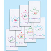 """Teapots Of The Week - Stamped White Decorative Hand Towels 15""""X30"""" Set Of 7"""