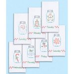 """Holidays Of The Week - Stamped White Decorative Hand Towels 15""""X30"""" Set Of 7"""