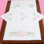 Daisies - Stamped Dresser Scarf & Doilies Lace Edge