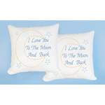 "Love You To The Moon - Stamped White Pillowtops 15""X15"" 2/Pkg"
