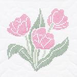 """XX Tulips - Stamped White Quilt Blocks 18""""X18"""" 6/Pkg"""