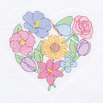 """Flowers And Hearts - Stamped White Quilt Blocks 18""""X18"""" 6/Pkg"""