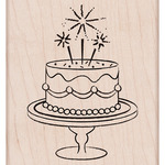 Fancy Birthday Cake Mounted Rubber Stamp - Hero Arts