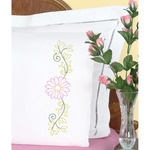 Daisy - Stamped Pillowcases W/White Perle Edge 2/Pkg