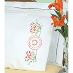 Fiesta Flowers - Stamped Pillowcases W/White Perle Edge 2/Pkg