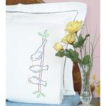 Birds - Stamped Pillowcases W/White Perle Edge 2/Pkg