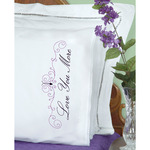 Love You Love You More - Stamped Pillowcases W/White Lace Edge 2/Pkg