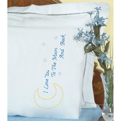 Love You To The Moon - Stamped Pillowcases W/White Lace Edge 2/Pkg