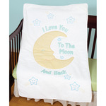 "Love You To The Moon - Stamped White Quilt Crib Top 40""X60"""