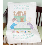 """Kiss Me Goodnight - Stamped White Quilt Crib Top 40""""X60"""""""