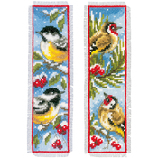 "2.5""X8"" 14 Count Set Of 2 - Birds In Winter Bookmarks On Aida Counted Cross Stitch Kit"