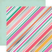 Diagonal Stripe Foil Paper - Party Time - Echo Park