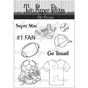 "Go Team - Two Paper Divas Clear Stamps 8.5""X4.5"""