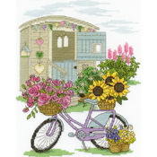 """8""""X10"""" 14 Count - Flowery Bicycle Counted Cross Stitch Kit"""