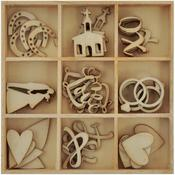 Wedding Flourishes Wooden Shapes - Always & Forever - KaiserCraft