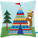 "16""X16"" - Bear And Teepee Cushion Cross Stitch Kit"