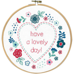 """8"""" Round - Modern Flowers Lovely Day Stamped Embroidery Kit"""