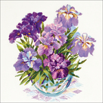 """17.75""""X17.75"""" 14 Count - Irises In Vase Counted Cross Stitch Kit"""
