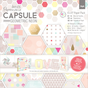 """Geometric Neon - Papermania Double-Sided Paper Pack 6""""X6"""" 36/Pkg"""